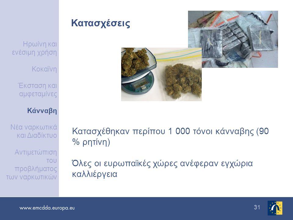 31 Κατασχέσεις Κατασχέθηκαν περίπου 1 000 τόνοι κάνναβης (90 % ρητίνη) Όλες οι ευρωπαϊκές χώρες ανέφεραν εγχώρια καλλιέργεια Ηρωίνη και ενέσιμη χρήση Κοκαΐνη Έκσταση και αμφεταμίνες Κάνναβη Νέα ναρκωτικά και Διαδίκτυο Αντιμετώπιση του προβλήματος των ναρκωτικών