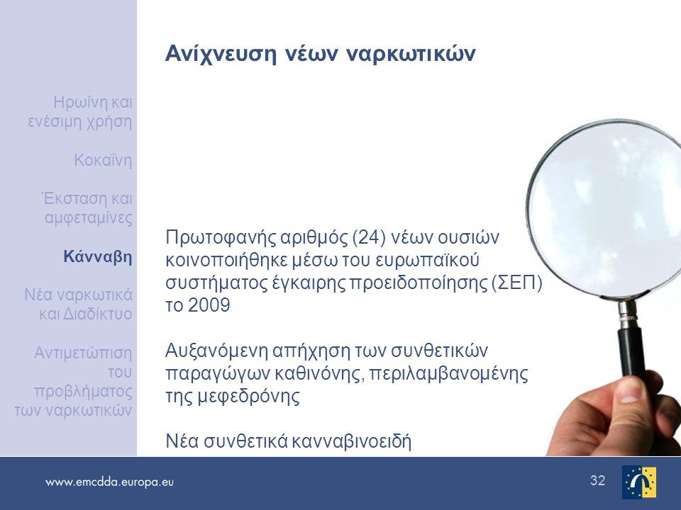 32 Ανίχνευση νέων ναρκωτικών Πρωτοφανής αριθμός (24) νέων ουσιών κοινοποιήθηκε μέσω του ευρωπαϊκού συστήματος έγκαιρης προειδοποίησης (ΣΕΠ) το 2009 Αυξανόμενη απήχηση των συνθετικών παραγώγων καθινόνης, περιλαμβανομένης της μεφεδρόνης Νέα συνθετικά κανναβινοειδή Ηρωίνη και ενέσιμη χρήση Κοκαΐνη Έκσταση και αμφεταμίνες Κάνναβη Νέα ναρκωτικά και Διαδίκτυο Αντιμετώπιση του προβλήματος των ναρκωτικών