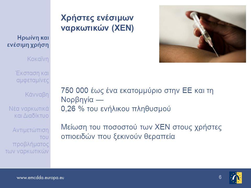 6 750 000 έως ένα εκατομμύριο στην ΕΕ και τη Νορβηγία — 0,26 % του ενήλικου πληθυσμού Μείωση του ποσοστού των ΧΕΝ στους χρήστες οπιοειδών που ξεκινούν θεραπεία Χρήστες ενέσιμων ναρκωτικών (ΧΕΝ) Ηρωίνη και ενέσιμη χρήση Κοκαΐνη Έκσταση και αμφεταμίνες Κάνναβη Νέα ναρκωτικά και Διαδίκτυο Αντιμετώπιση του προβλήματος των ναρκωτικών