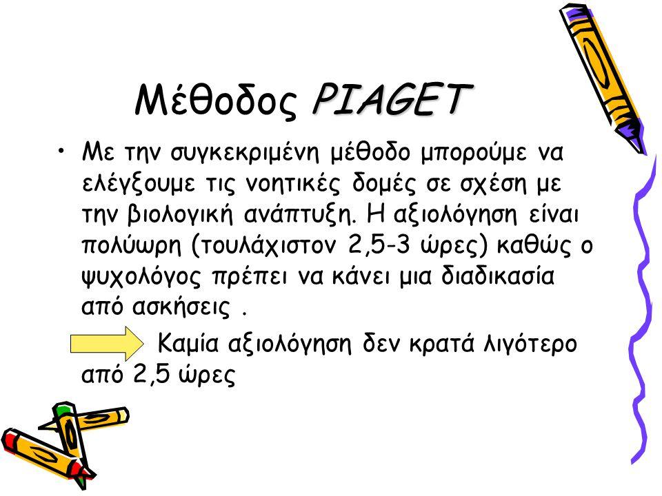 PIAGET Μέθοδος PIAGET Με την συγκεκριμένη μέθοδο μπορούμε να ελέγξουμε τις νοητικές δομές σε σχέση με την βιολογική ανάπτυξη. Η αξιολόγηση είναι πολύω