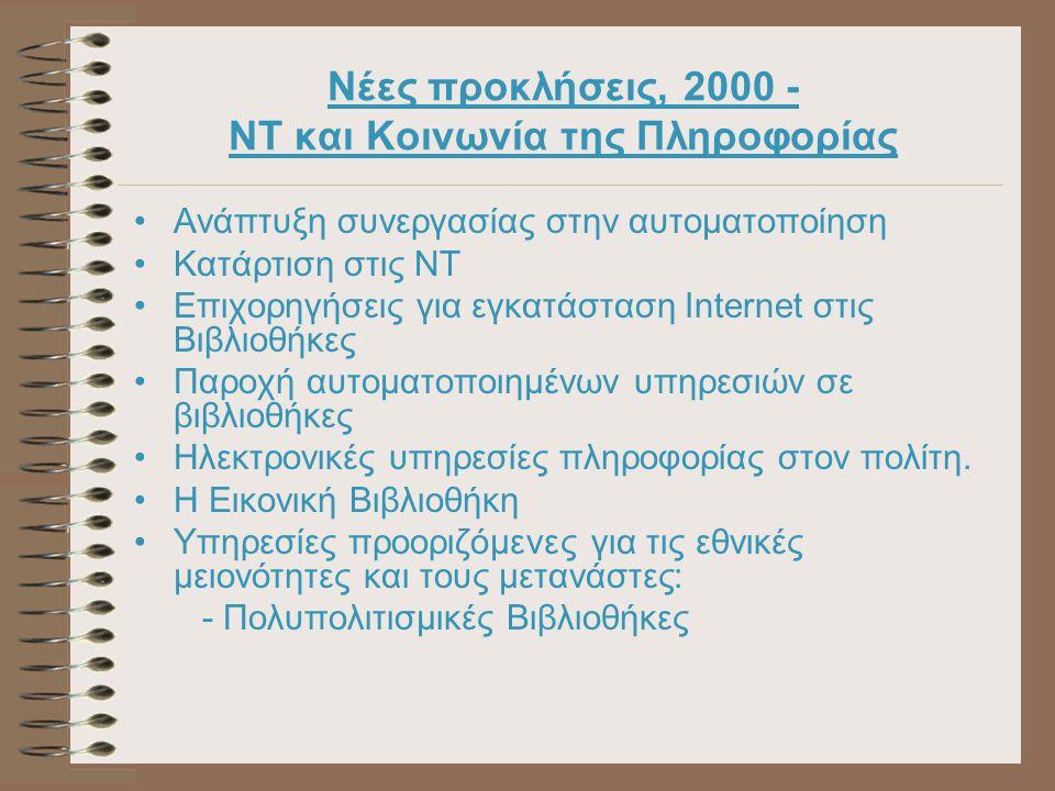 Νέες προκλήσεις, 2000 - NT και Κοινωνία της Πληροφορίας Ανάπτυξη συνεργασίας στην αυτοματοποίηση Κατάρτιση στις NT Επιχορηγήσεις για εγκατάσταση Internet στις Βιβλιοθήκες Παροχή αυτοματοποιημένων υπηρεσιών σε βιβλιοθήκες Ηλεκτρονικές υπηρεσίες πληροφορίας στον πολίτη.