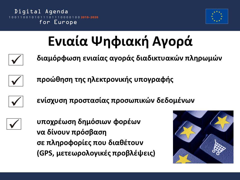 Ενιαία Ψηφιακή Αγορά διαμόρφωση ενιαίας αγοράς διαδικτυακών πληρωμών προώθηση της ηλεκτρονικής υπογραφής ενίσχυση προστασίας προσωπικών δεδομένων υποχρέωση δημόσιων φορέων να δίνουν πρόσβαση σε πληροφορίες που διαθέτουν (GPS, μετεωρολογικές προβλέψεις)