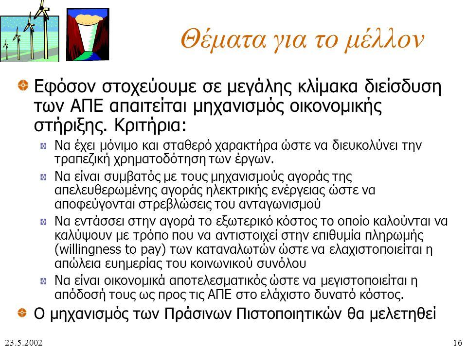 23.5.200216 Θέματα για το μέλλον Εφόσον στοχεύουμε σε μεγάλης κλίμακα διείσδυση των ΑΠΕ απαιτείται μηχανισμός οικονομικής στήριξης.