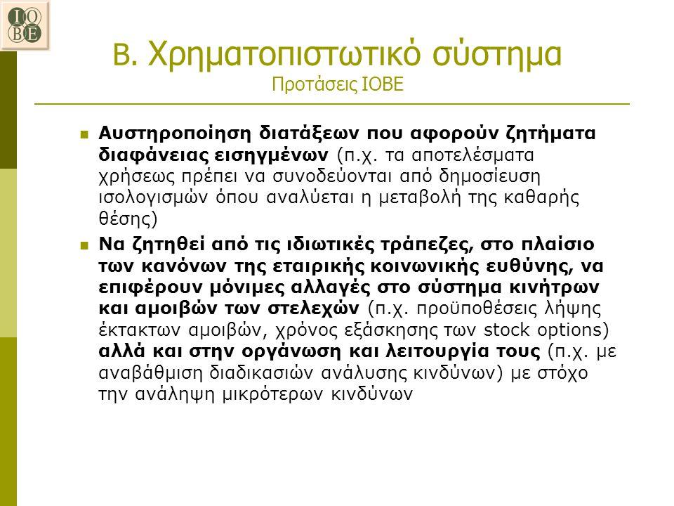 Β. Χρηματοπιστωτικό σύστημα Προτάσεις ΙΟΒΕ Αυστηροποίηση διατάξεων που αφορούν ζητήματα διαφάνειας εισηγμένων (π.χ. τα αποτελέσματα χρήσεως πρέπει να