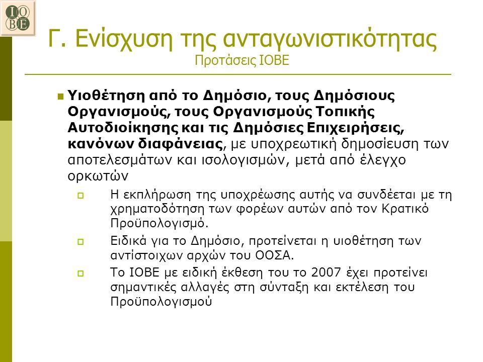 Γ. Ενίσχυση της ανταγωνιστικότητας Προτάσεις ΙΟΒΕ Υιοθέτηση από το Δημόσιο, τους Δημόσιους Οργανισμούς, τους Οργανισμούς Τοπικής Αυτοδιοίκησης και τις