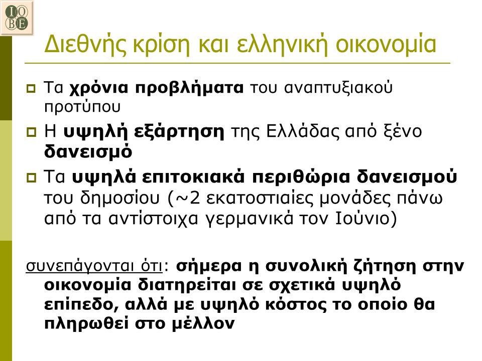  Τα χρόνια προβλήματα του αναπτυξιακού προτύπου  Η υψηλή εξάρτηση της Ελλάδας από ξένο δανεισμό  Τα υψηλά επιτοκιακά περιθώρια δανεισμού του δημοσί