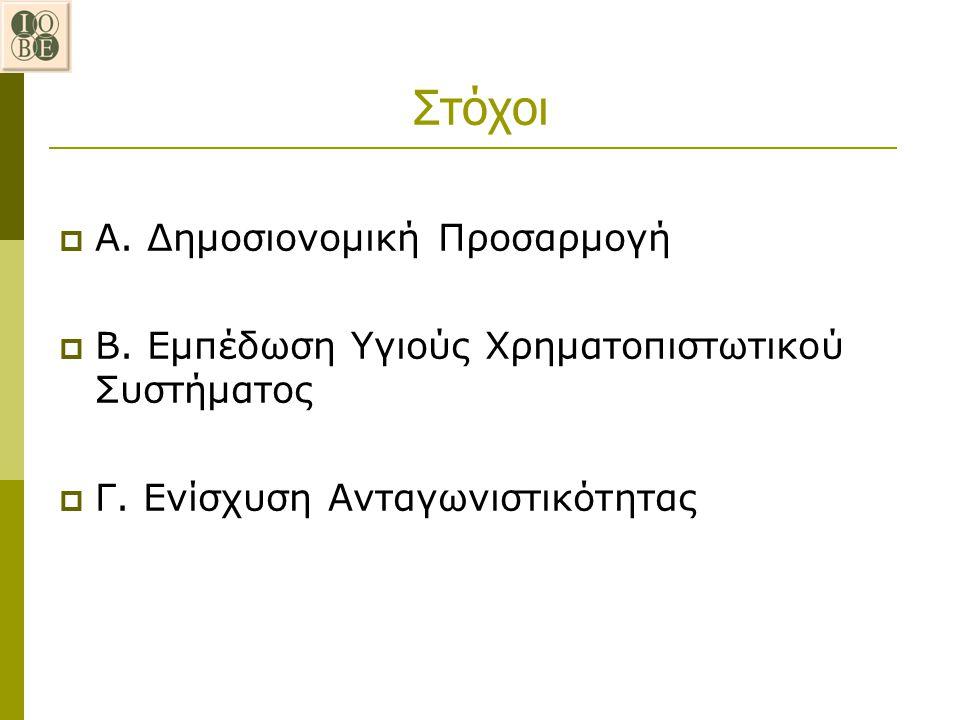 Στόχοι  Α. Δημοσιονομική Προσαρμογή  Β. Εμπέδωση Υγιούς Χρηματοπιστωτικού Συστήματος  Γ. Ενίσχυση Ανταγωνιστικότητας