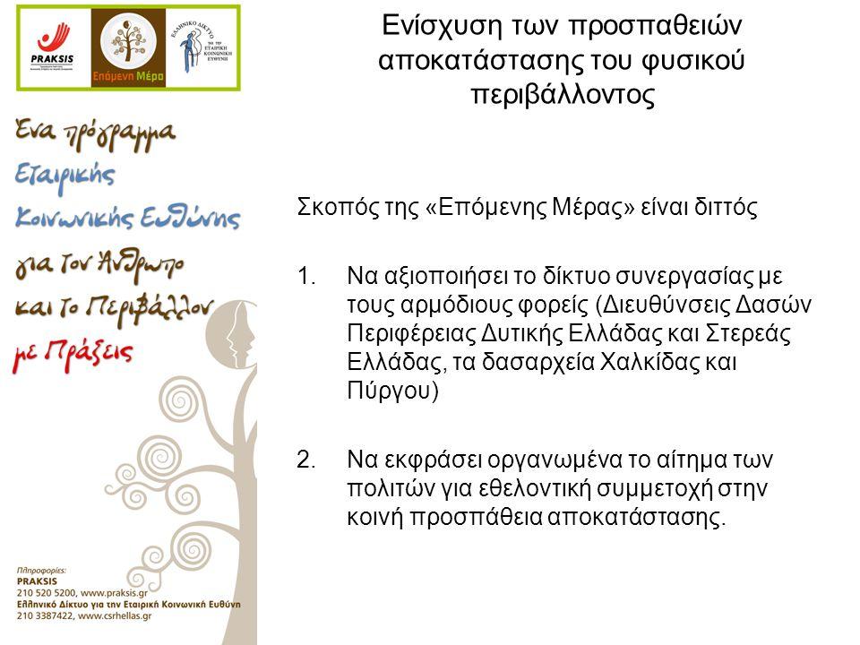 Ενίσχυση των προσπαθειών αποκατάστασης του φυσικού περιβάλλοντος Σκοπός της «Επόμενης Μέρας» είναι διττός 1.Να αξιοποιήσει το δίκτυο συνεργασίας με τους αρμόδιους φορείς (Διευθύνσεις Δασών Περιφέρειας Δυτικής Ελλάδας και Στερεάς Ελλάδας, τα δασαρχεία Χαλκίδας και Πύργου) 2.Να εκφράσει οργανωμένα το αίτημα των πολιτών για εθελοντική συμμετοχή στην κοινή προσπάθεια αποκατάστασης.
