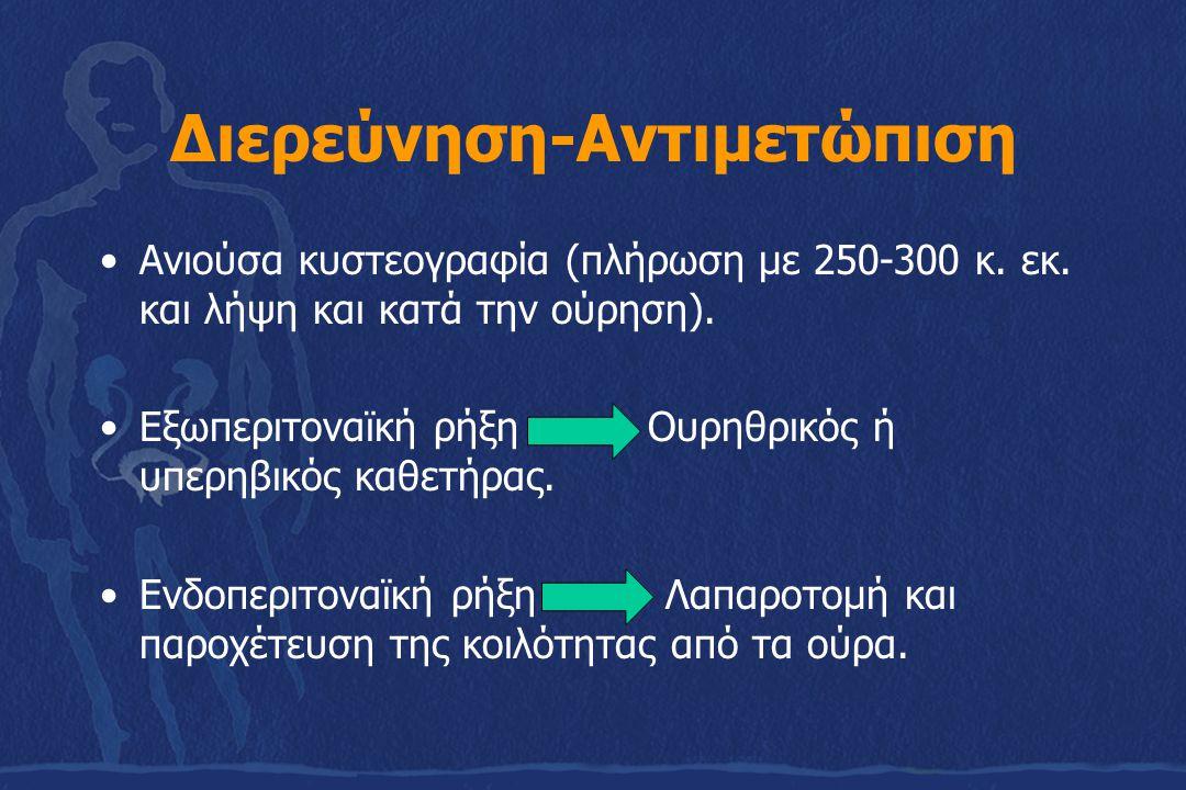 Διερεύνηση-Αντιμετώπιση Ανιούσα κυστεογραφία (πλήρωση με 250-300 κ. εκ. και λήψη και κατά την ούρηση). Εξωπεριτοναϊκή ρήξη Ουρηθρικός ή υπερηβικός καθ
