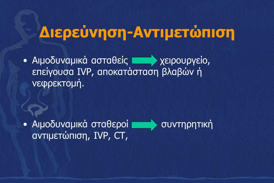 Διερεύνηση-Αντιμετώπιση Αιμοδυναμικά ασταθείς χειρουργείο, επείγουσα IVP, αποκατάσταση βλαβών ή νεφρεκτομή. Αιμοδυναμικά σταθεροί συντηρητική αντιμετώ