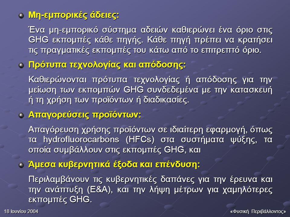 18 Ιουνίου 2004«Φυσική Περιβάλλοντος» Μια ομάδα χωρών που θέλουν να περιορίσουν τις συνολικές εκπομπές GHG τους, θα μπορούσε να συμφωνήσει να εφαρμόσει το ένα, ή συνδυασμό των οργάνων.