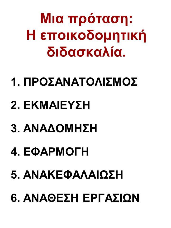 Μια πρόταση: Η εποικοδομητική διδασκαλία. 1. ΠΡΟΣΑΝΑΤΟΛΙΣΜΟΣ 2. ΕΚΜΑΙΕΥΣΗ 3. ΑΝΑΔΟΜΗΣΗ 4. ΕΦΑΡΜΟΓΗ 5. ΑΝΑΚΕΦΑΛΑΙΩΣΗ 6. ΑΝΑΘΕΣΗ ΕΡΓΑΣΙΩΝ