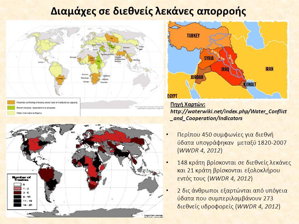 Διαμάχες σε διεθνείς λεκάνες απορροής Περίπου 450 συμφωνίες για διεθνή ύδατα υπογράφηκαν μεταξύ 1820-2007 (WWDR 4, 2012) 148 κράτη βρίσκονται σε διεθνείς λεκάνες και 21 κράτη βρίσκονται εξολοκλήρου εντός τους (WWDR 4, 2012) 2 δις άνθρωποι εξαρτώνται από υπόγεια ύδατα που συμπεριλαμβάνουν 273 διεθνείς υδροφορείς (WWDR 4, 2012) Πηγή Χαρτών: http://waterwiki.net/index.php/Water_Conflict _and_Cooperation/Indicators
