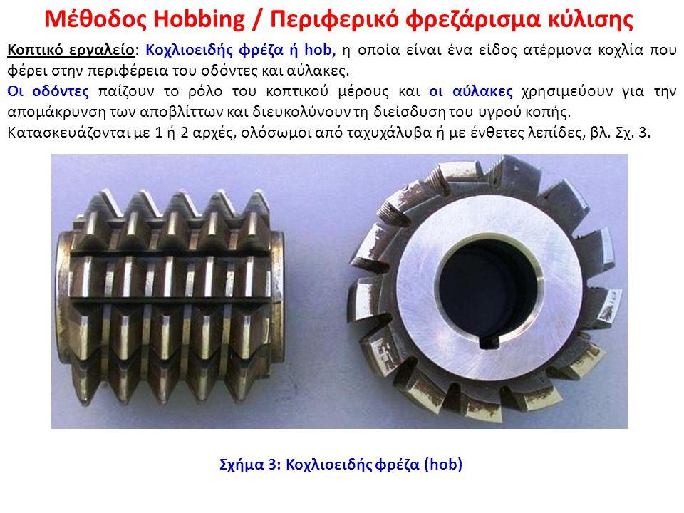 Μέθοδος Hobbing / Περιφερικό φρεζάρισμα κύλισης Κοπτικό εργαλείο: Kοχλιοειδής φρέζα ή hob, η οποία είναι ένα είδος ατέρμονα κοχλία που φέρει στην περι