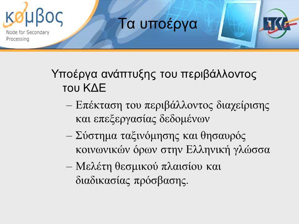 Τα υποέργα Υποέργα ανάπτυξης του περιβάλλοντος του ΚΔΕ –Επέκταση του περιβάλλοντος διαχείρισης και επεξεργασίας δεδομένων –Σύστημα ταξινόμησης και θησαυρός κοινωνικών όρων στην Ελληνική γλώσσα –Μελέτη θεσμικού πλαισίου και διαδικασίας πρόσβασης.