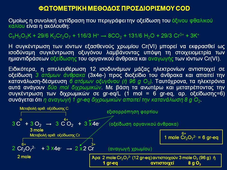 Στη φωτομετρική μέθοδο η συγκέντρωση των εξασθενών ιόντων Cr(VI) που καταναλώθηκαν κατά την αντίδραση οξειδοαναγωγής προσδιορίζεται με μετρήσεις της απορρόφησης του τυφλού και του δείγματος, ενώ με περαιτέρω υπολογισμούς μπορεί να υπολογισθεί και η συγκέντρωση του οξυγόνου που καταναλώθηκε (COD).
