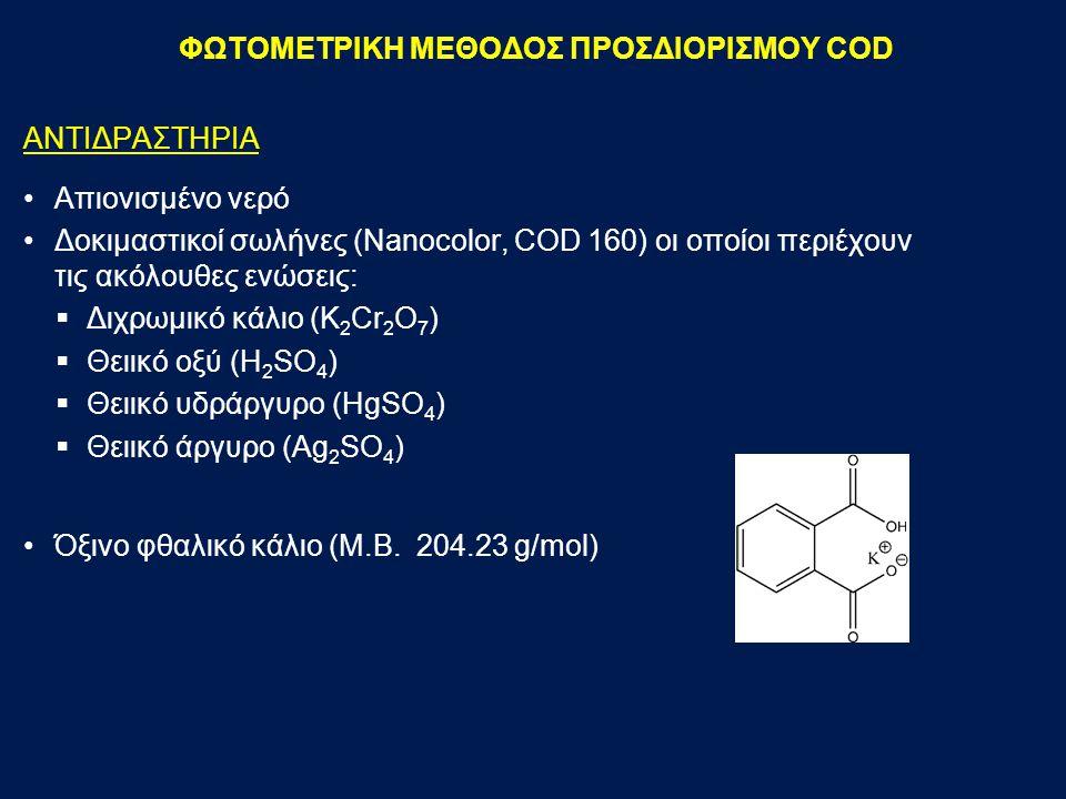 ΑΝΤΙΔΡΑΣΤΗΡΙΑ Απιονισμένο νερό Δοκιμαστικοί σωλήνες (Nanocolor, COD 160) οι οποίοι περιέχουν τις ακόλουθες ενώσεις:  Διχρωμικό κάλιο (K 2 Cr 2 O 7 )