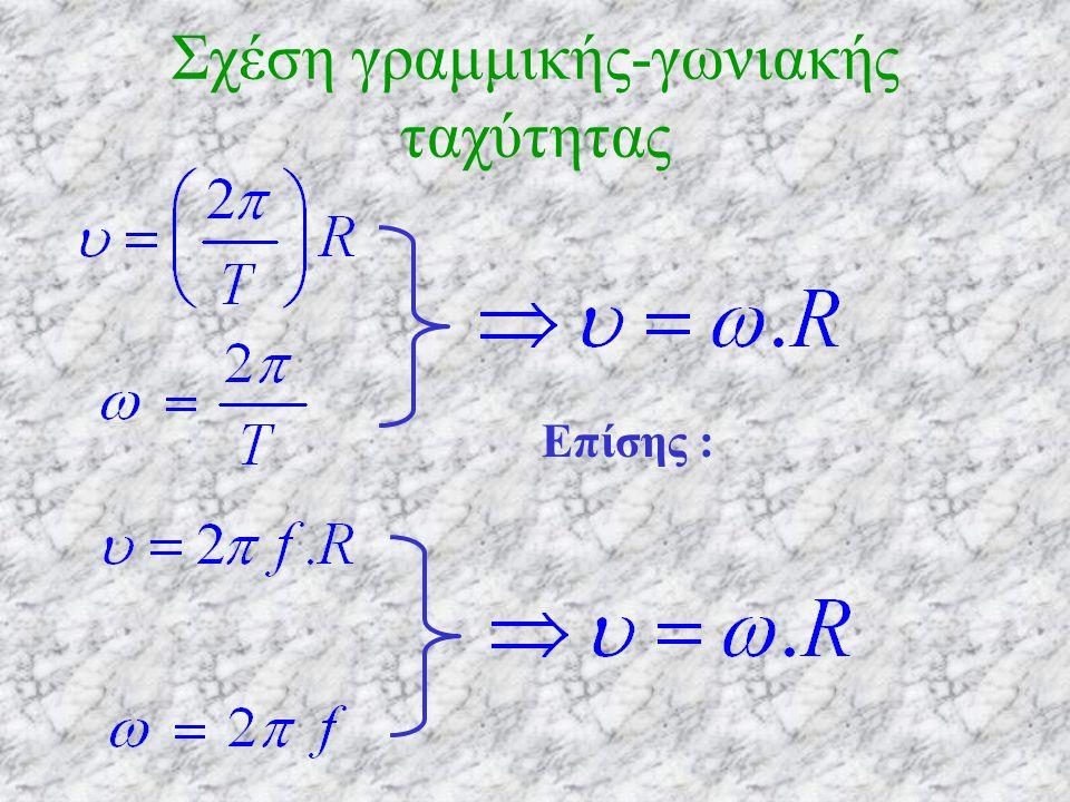 Σε χρόνο Δt =Τ το κινητό κάνει μια πλήρη περιφορά, δηλαδή η γωνιακή μετατόπισή του είναι 2π ( rad ) Οπότε : Επίσης Η γωνιακή ταχύτητα στην ομαλή κυκλική κίνηση