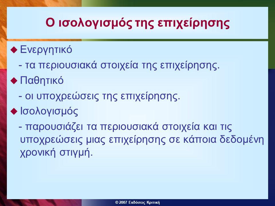 © 2007 Εκδόσεις Κριτική Ο ισολογισμός της επιχείρησης  Ενεργητικό - τα περιουσιακά στοιχεία της επιχείρησης.