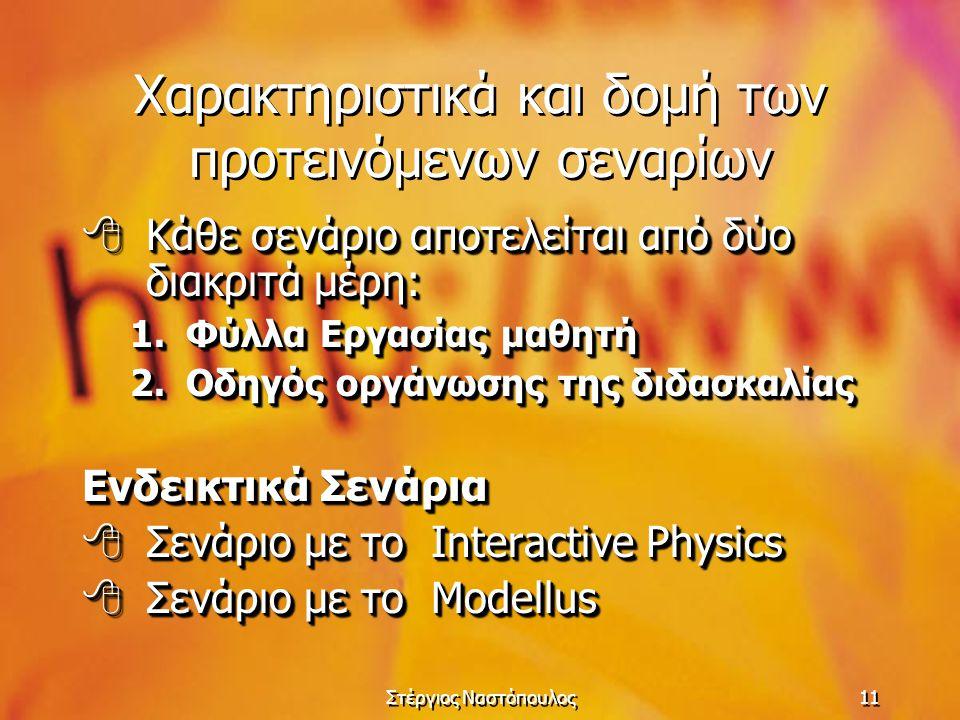 Στέργιος Ναστόπουλος11 Χαρακτηριστικά και δομή των προτεινόμενων σεναρίων  Κάθε σενάριο αποτελείται από δύο διακριτά μέρη: 1.Φύλλα Εργασίας μαθητή 2.Οδηγός οργάνωσης της διδασκαλίας Ενδεικτικά Σενάρια  Σενάριο με το Interactive Physics  Σενάριο με το Modellus  Κάθε σενάριο αποτελείται από δύο διακριτά μέρη: 1.Φύλλα Εργασίας μαθητή 2.Οδηγός οργάνωσης της διδασκαλίας Ενδεικτικά Σενάρια  Σενάριο με το Interactive Physics  Σενάριο με το Modellus