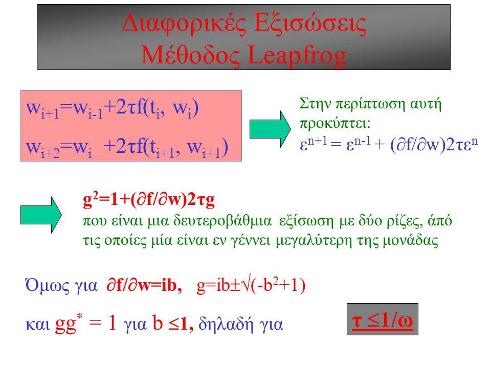 Διαφορικές Εξισώσεις Σταθερότητα: Παράδειγμα 2 Αρμονική κίνηση: d 2 x/dt 2 +ω 2 x= 0  dx/dt - ωv= 0 dv/dt +ωx= 0 Θέτοντας u=x+iv  du/dt +iωu= 0  g=