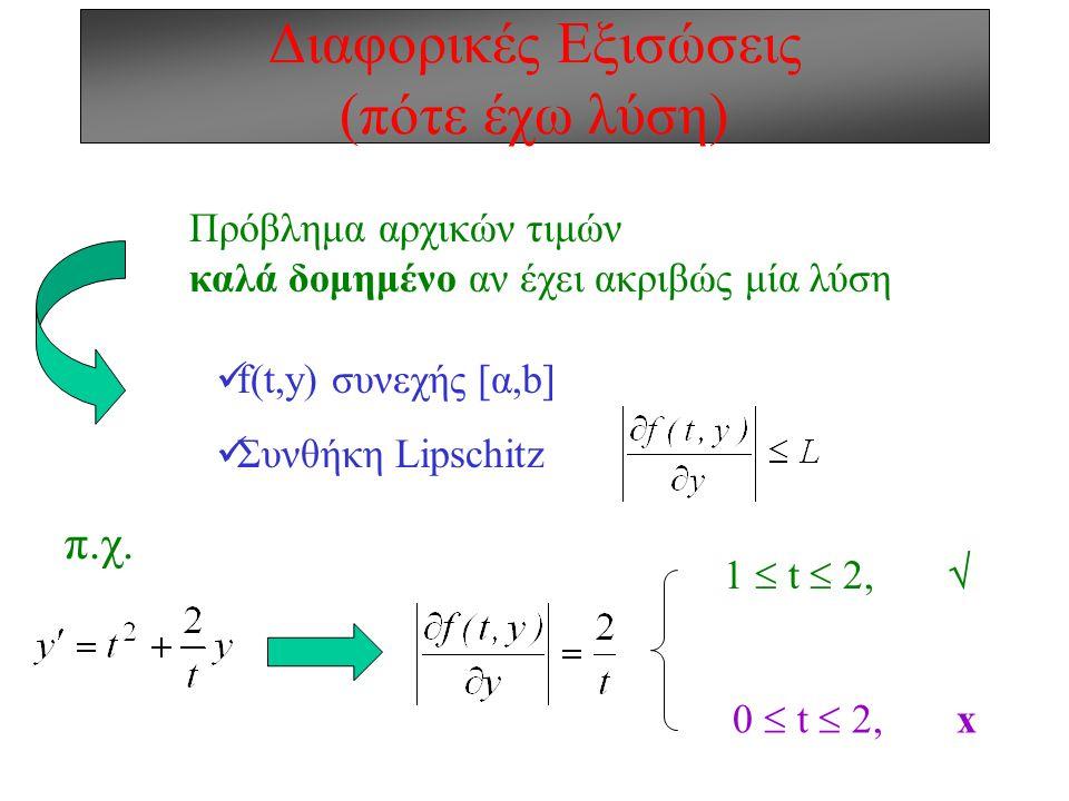 Διαφορικές Εξισώσεις (πότε έχω λύση) Πρόβλημα αρχικών τιμών καλά δομημένο αν έχει ακριβώς μία λύση f(t,y) συνεχής [α,b] Συνθήκη Lipschitz π.χ.