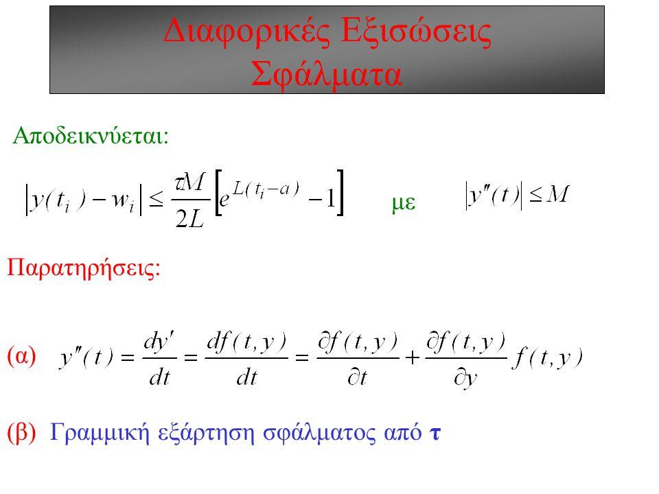 Διαφορικές Εξισώσεις Έμμεσες (Implicit) Mέθοδοι w i+1 =w i +τ/2{f(t i, w i )+ f(t i+1, w i+1 )} g=1+(  f/  w)| n τ/2+(  f/  w)| n+1 τ/2 g Πλεονέκτημα: Σταθερότητα για κάθε βήμα g=[1+(  f/  w)| n τ/2 ] / [1-(  f/  w)| n+1 τ/2] Μειονέκτημα: Επίλυση εξίσωσης