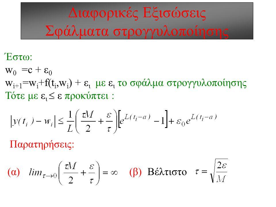 Διαφορικές Εξισώσεις Σφάλματα στρογγυλοποίησης Έστω: w 0 =c + ε 0 w i+1 =w i +f(t i,w i ) + ε ι με ε ι το σφάλμα στρογγυλοποίησης Τότε με ε ι  ε προκύπτει : Παρατηρήσεις: (β) Βέλτιστο(α)