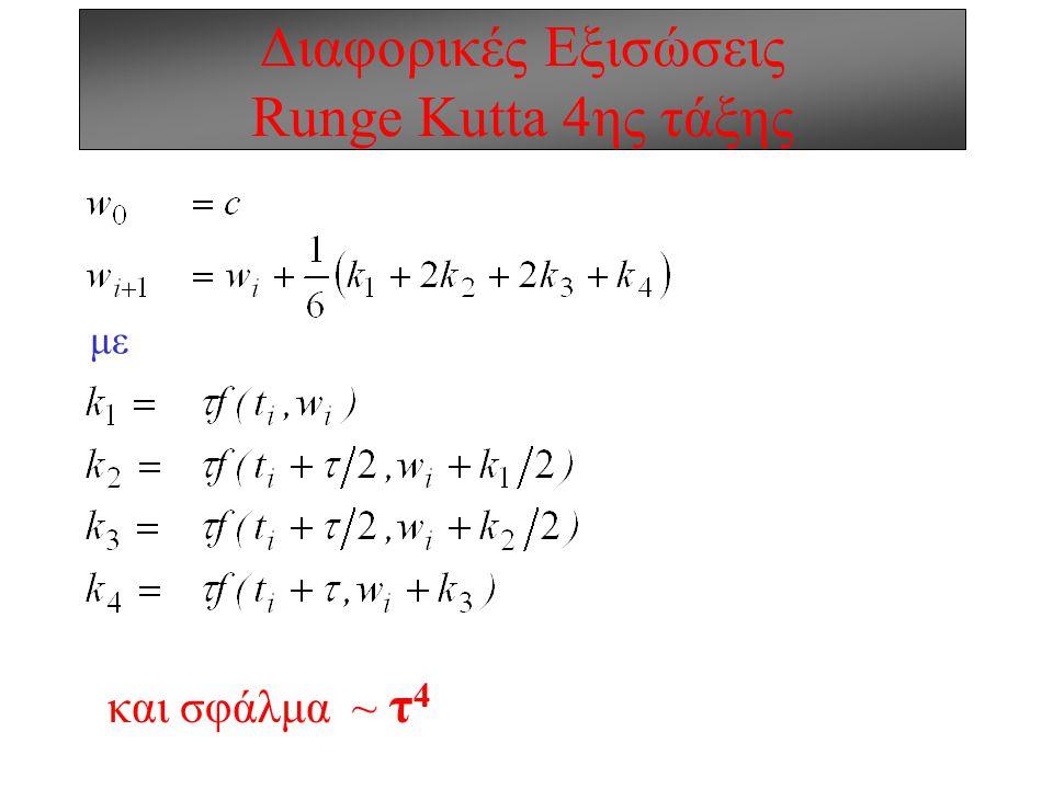 Διαφορικές Εξισώσεις Μέθοδοι Runge Kutta Όχι όμως, κατ' ανάγκη! 2διάστατο ανάπτυγμα Taylor α=τ/2 b=τ/2 f(t,y) Μέθοδος Midpoint ή Runge Kutta 2ης τάξης