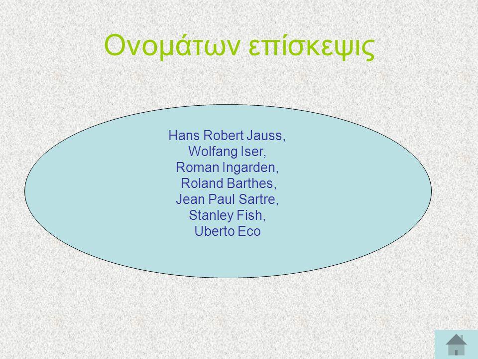 Ονομάτων επίσκεψις Hans Robert Jauss, Wolfang Iser, Roman Ingarden, Roland Barthes, Jean Paul Sartre, Stanley Fish, Uberto Eco