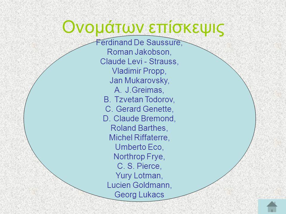 Ονομάτων επίσκεψις Ferdinand De Saussure, Roman Jakobson, Claude Levi - Strauss, Vladimir Propp, Jan Mukarovsky, A.J.Greimas, B.Tzvetan Todorov, C.Ger