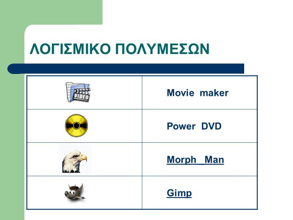 ΛΟΓΙΣΜΙΚΟ ΠΟΛΥΜΕΣΩΝ Movie maker Power DVD Morph _Man Gimp