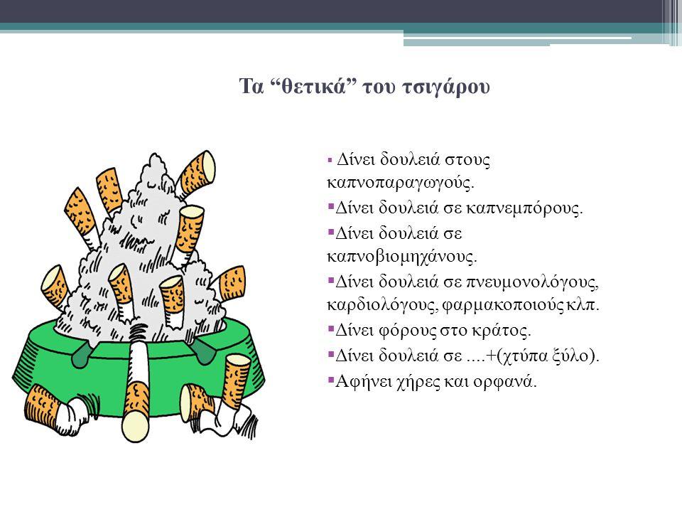 """Τα """"θετικά"""" του τσιγάρου  Δίνει δουλειά στους καπνοπαραγωγούς.  Δίνει δουλειά σε καπνεμπόρους.  Δίνει δουλειά σε καπνοβιομηχάνους.  Δίνει δουλειά"""