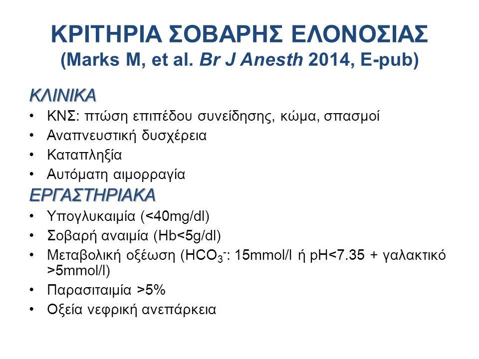 ΚΛΙΝΙΚΑ ΚΝΣ: πτώση επιπέδου συνείδησης, κώμα, σπασμοί Αναπνευστική δυσχέρεια Καταπληξία Αυτόματη αιμορραγίαΕΡΓΑΣΤΗΡΙΑΚΑ Υπογλυκαιμία (<40mg/dl) Σοβαρή αναιμία (Hb<5g/dl) Μεταβολική οξέωση (HCO 3 - : 15mmol/l ή pH 5mmol/l) Παρασιταιμία >5% Oξεία νεφρική ανεπάρκεια ΚΡΙΤΗΡΙΑ ΣΟΒΑΡΗΣ ΕΛΟΝΟΣΙΑΣ (Marks M, et al.