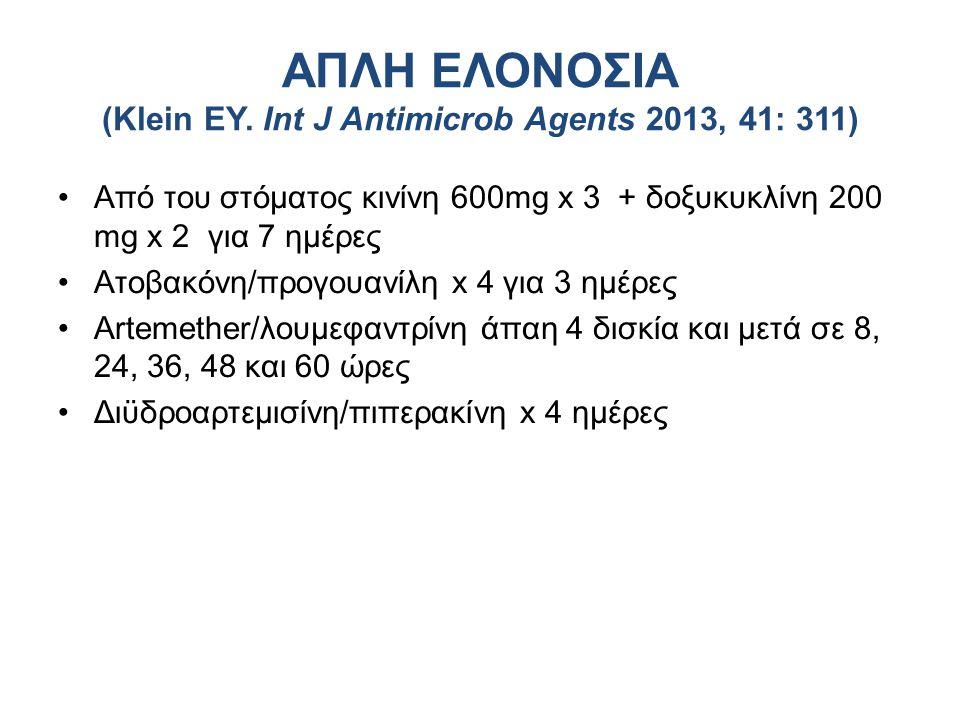 Από του στόματος κινίνη 600mg x 3 + δοξυκυκλίνη 200 mg x 2 για 7 ημέρες Ατοβακόνη/προγουανίλη x 4 για 3 ημέρες Artemether/λουμεφαντρίνη άπαη 4 δισκία και μετά σε 8, 24, 36, 48 και 60 ώρες Διϋδροαρτεμισίνη/πιπερακίνη x 4 ημέρες ΑΠΛΗ ΕΛΟΝΟΣΙΑ (Klein EY.
