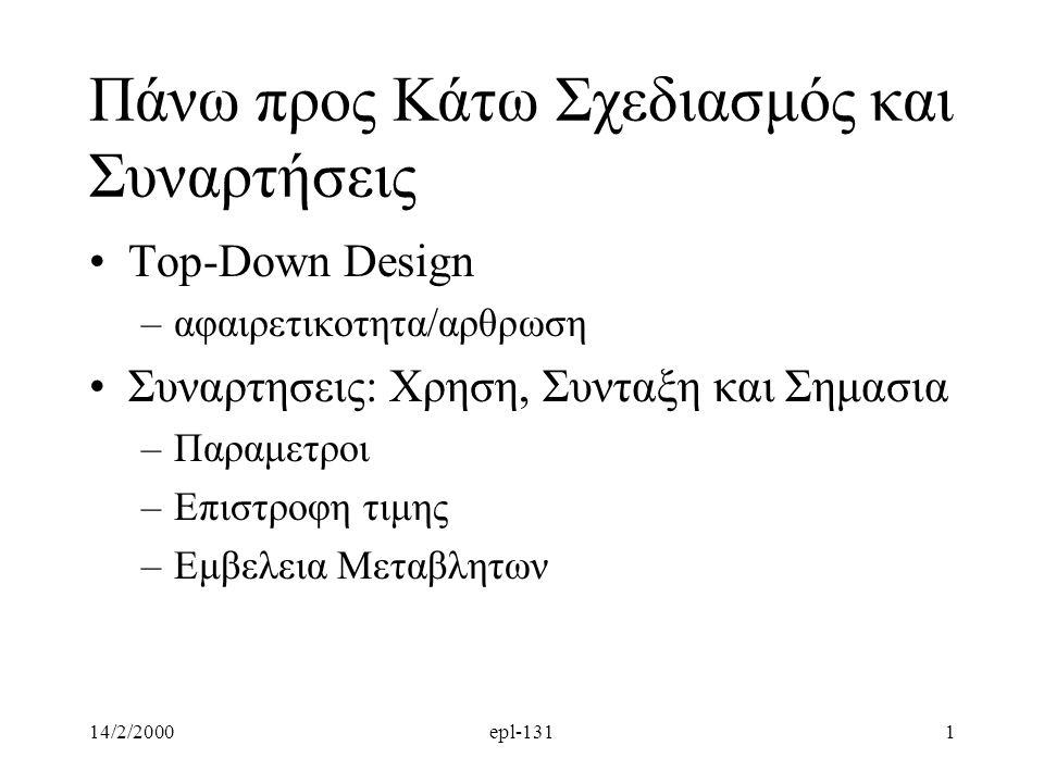 14/2/2000epl-1311 Πάνω προς Κάτω Σχεδιασμός και Συναρτήσεις Top-Down Design –αφαιρετικοτητα/αρθρωση Συναρτησεις: Χρηση, Συνταξη και Σημασια –Παραμετρο