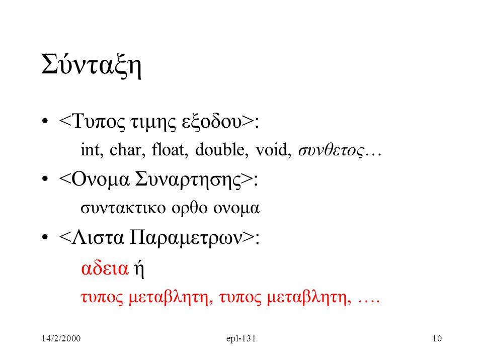14/2/2000epl-13110 Σύνταξη : int, char, float, double, void, συνθετος… : συντακτικο ορθο ονομα : αδεια ή τυπος μεταβλητη, τυπος μεταβλητη, ….