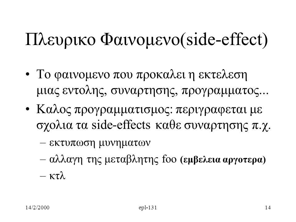 14/2/2000epl-13114 Πλευρικο Φαινομενο(side-effect) Το φαινομενο που προκαλει η εκτελεση μιας εντολης, συναρτησης, προγραμματος... Καλος προγραμματισμο