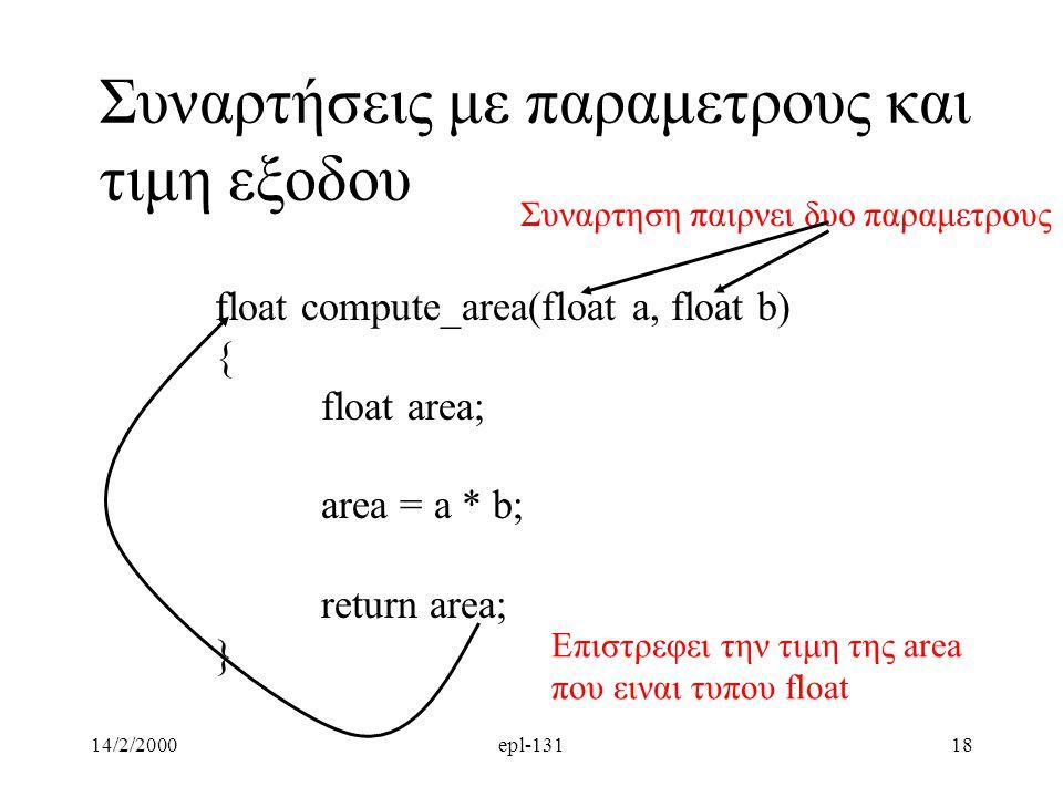 14/2/2000epl-13118 Συναρτήσεις με παραμετρους και τιμη εξοδου float compute_area(float a, float b) { float area; area = a * b; return area; } Επιστρεφει την τιμη της area που ειναι τυπου float Συναρτηση παιρνει δυο παραμετρους
