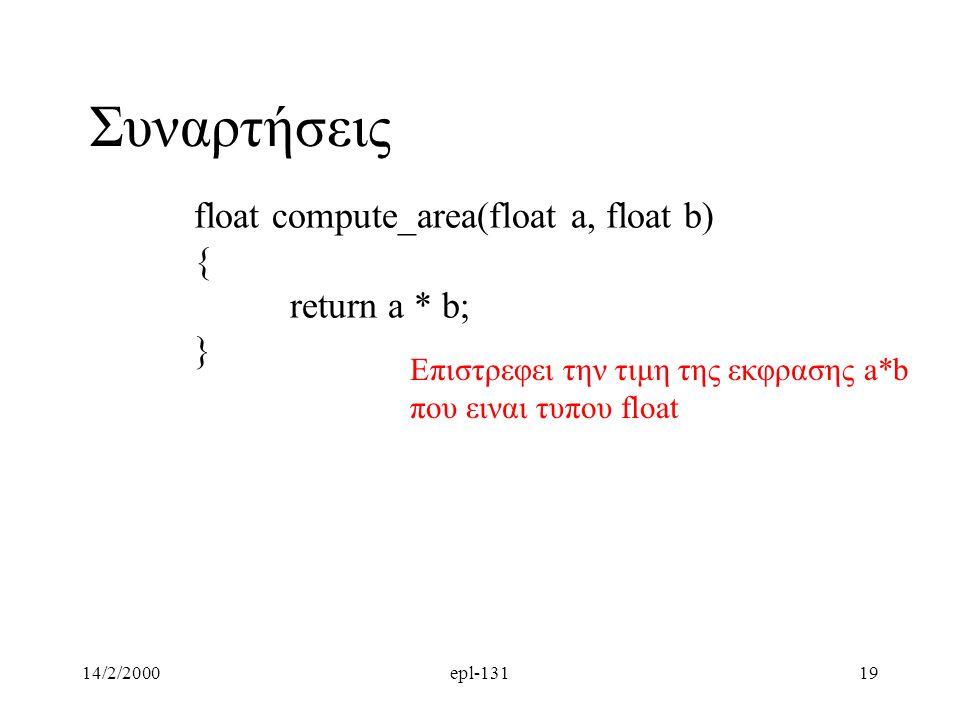 14/2/2000epl-13119 Συναρτήσεις float compute_area(float a, float b) { return a * b; } Επιστρεφει την τιμη της εκφρασης a*b που ειναι τυπου float