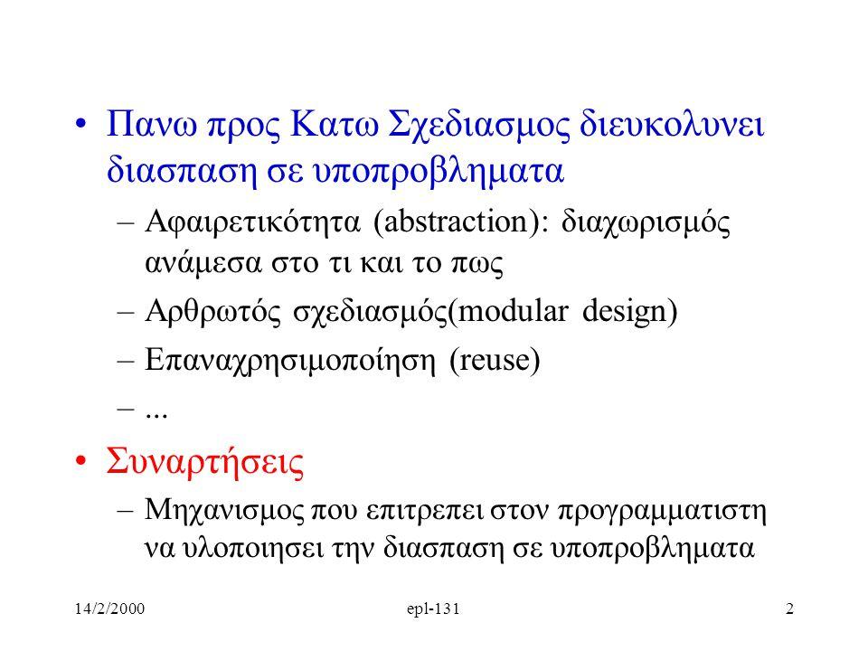 14/2/2000epl-1312 Πανω προς Κατω Σχεδιασμος διευκολυνει διασπαση σε υποπροβληματα –Αφαιρετικότητα (abstraction): διαχωρισμός ανάμεσα στο τι και το πως –Aρθρωτός σχεδιασμός(modular design) –Επαναχρησιμοποίηση (reuse) –...