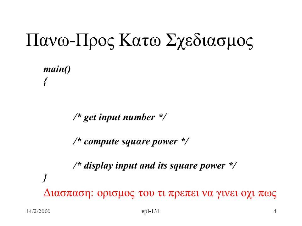 14/2/2000epl-1314 main() { /* get input number */ /* compute squαre power */ /* display input and its square power */ } Διασπαση: ορισμος του τι πρεπει να γινει οχι πως Πανω-Προς Κατω Σχεδιασμος