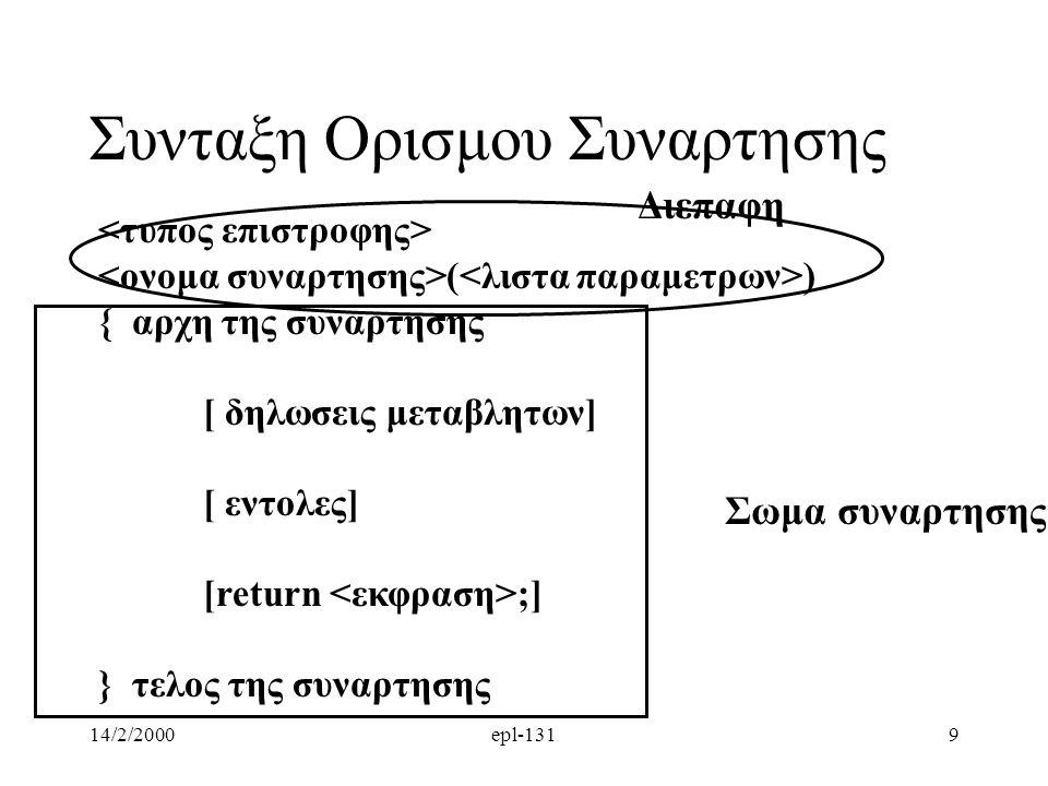 14/2/2000epl-1319 Συνταξη Ορισμου Συναρτησης ( ) { αρχη της συναρτησης [ δηλωσεις μεταβλητων] [ εντολες] [return ;] } τελος της συναρτησης Σωμα συναρτησηςΔιεπαφη