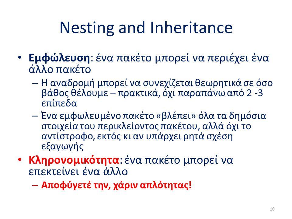 Nesting and Inheritance Εμφώλευση: ένα πακέτο μπορεί να περιέχει ένα άλλο πακέτο – Η αναδρομή μπορεί να συνεχίζεται θεωρητικά σε όσο βάθος θέλουμε – π