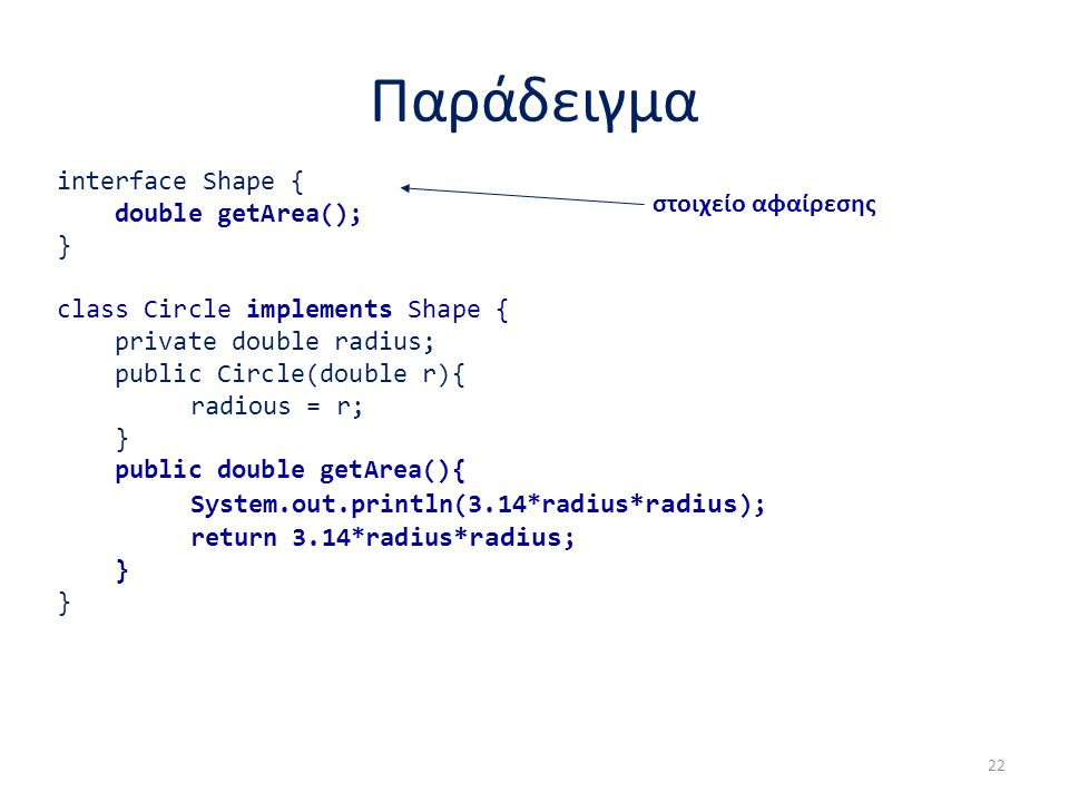 Παράδειγμα interface Shape { double getArea(); } class Circle implements Shape { private double radius; public Circle(double r){ radious = r; } public