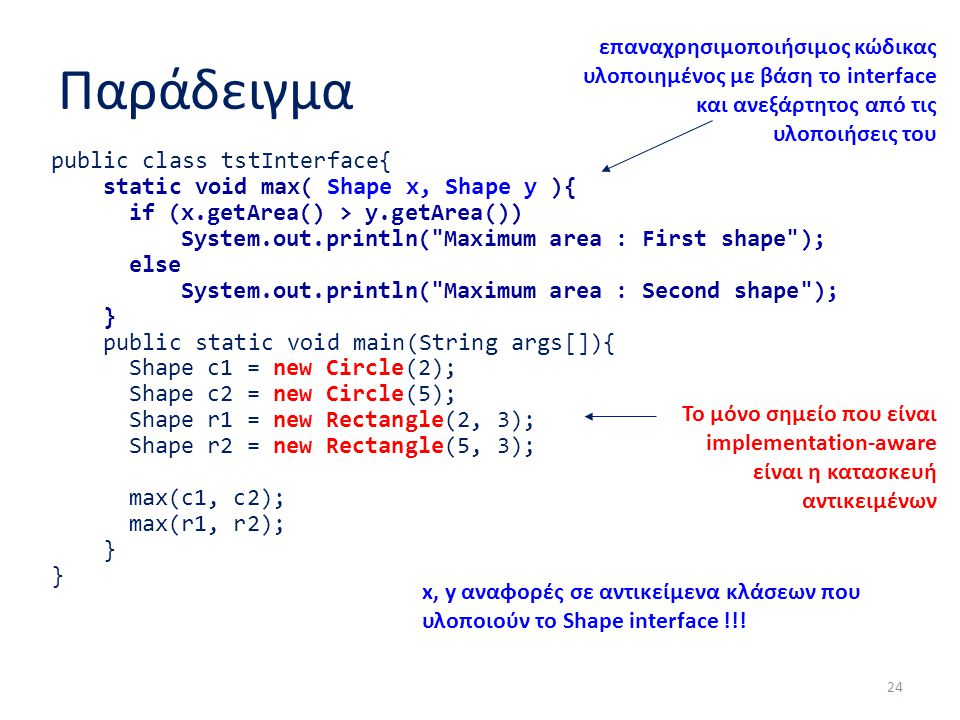 Παράδειγμα public class tstInterface{ static void max( Shape x, Shape y ){ if (x.getArea() > y.getArea()) System.out.println(