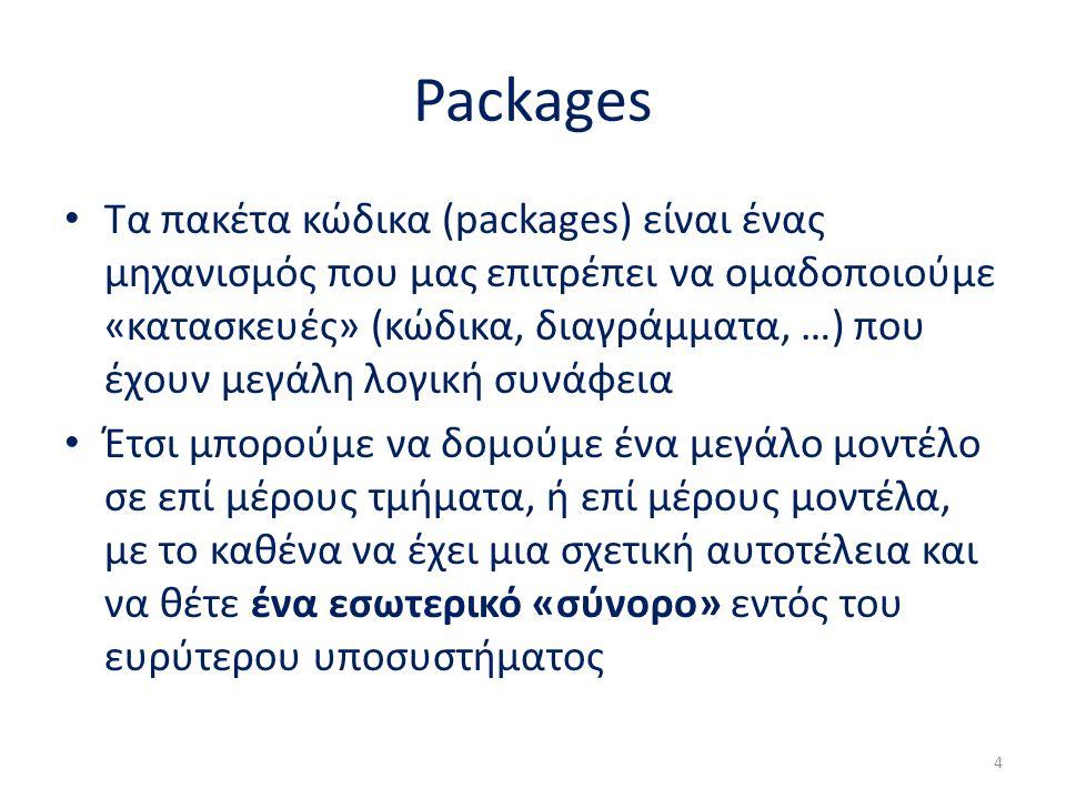 Packages Τα πακέτα κώδικα (packages) είναι ένας μηχανισμός που μας επιτρέπει να ομαδοποιούμε «κατασκευές» (κώδικα, διαγράμματα, …) που έχουν μεγάλη λο
