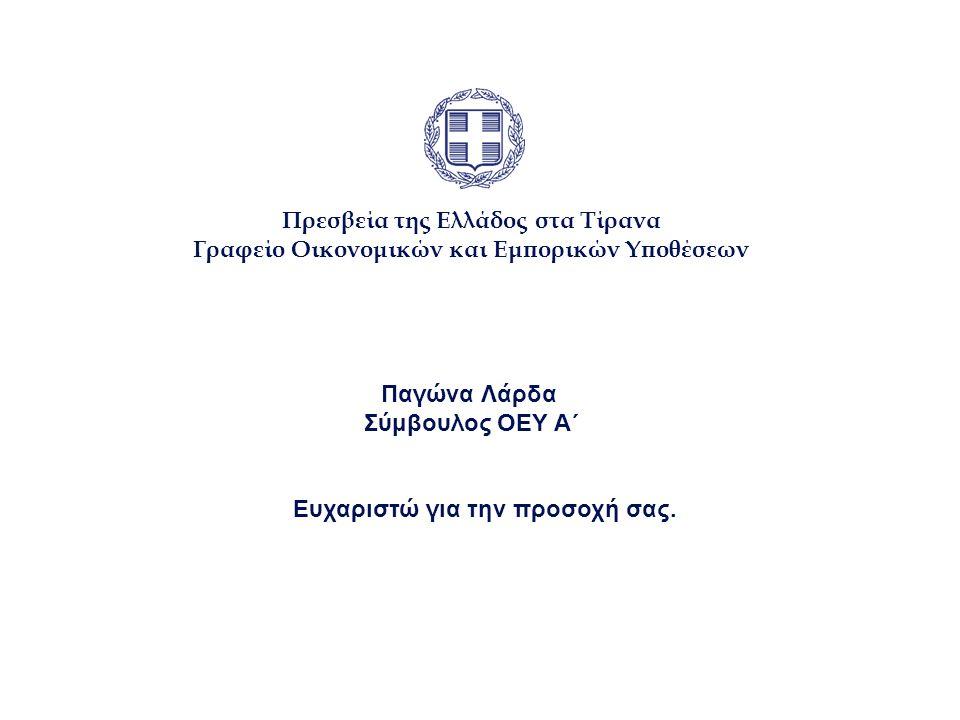 Πρεσβεία της Ελλάδος στα Τίρανα Γραφείο Οικονομικών και Εμπορικών Υποθέσεων Παγώνα Λάρδα Σύμβουλος ΟΕΥ Α΄ Ευχαριστώ για την προσοχή σας.