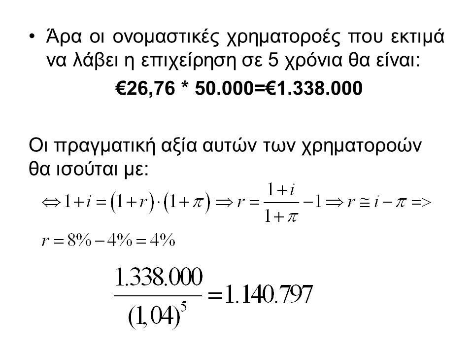 Άρα οι ονομαστικές χρηματοροές που εκτιμά να λάβει η επιχείρηση σε 5 χρόνια θα είναι: €26,76 * 50.000=€1.338.000 Οι πραγματική αξία αυτών των χρηματορ