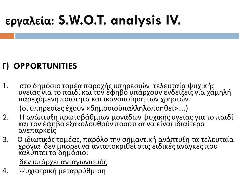 εργαλεία : S.W.O.T. analysis IV. Γ ) OPPORTUNITIES 1. στο δημόσιο τομέα παροχής υπηρεσιών τελευταία ψυχικής υγείας για το παιδί και τον έφηβο υπάρχουν